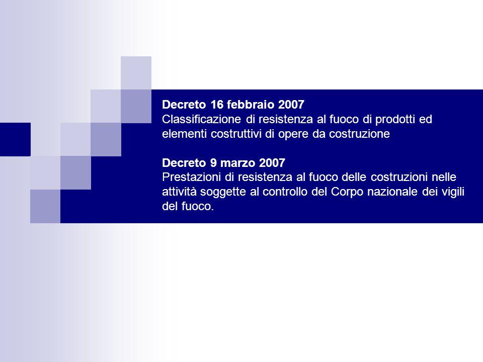 Decreto 16 febbraio 2007 Classificazione di resistenza al fuoco di prodotti ed elementi costruttivi di opere da costruzione Decreto 9 marzo 2007 Prestazioni di resistenza al fuoco delle costruzioni nelle attività soggette al controllo del Corpo nazionale dei vigili del fuoco.