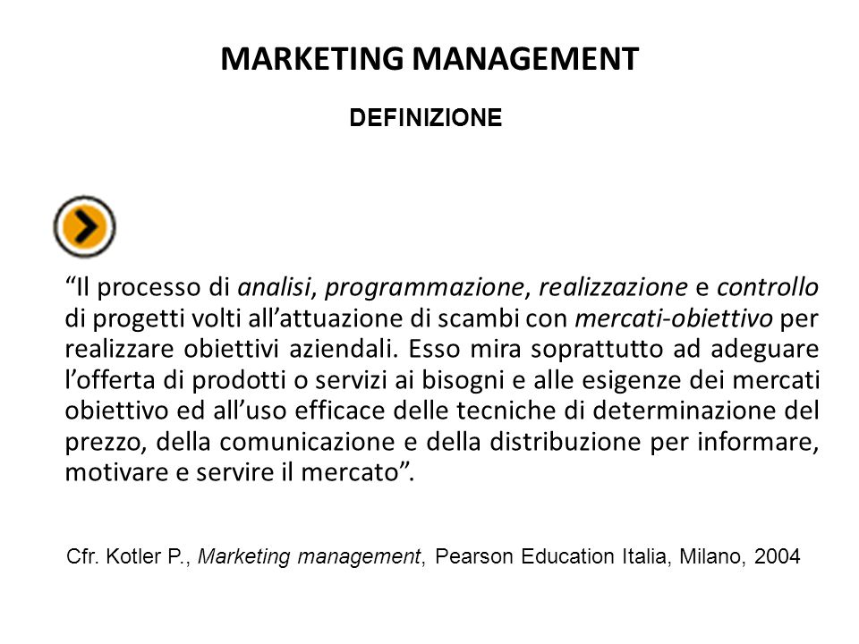 MARKETING MANAGEMENT DEFINIZIONE.