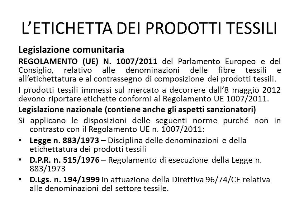 L'ETICHETTA DEI PRODOTTI TESSILI