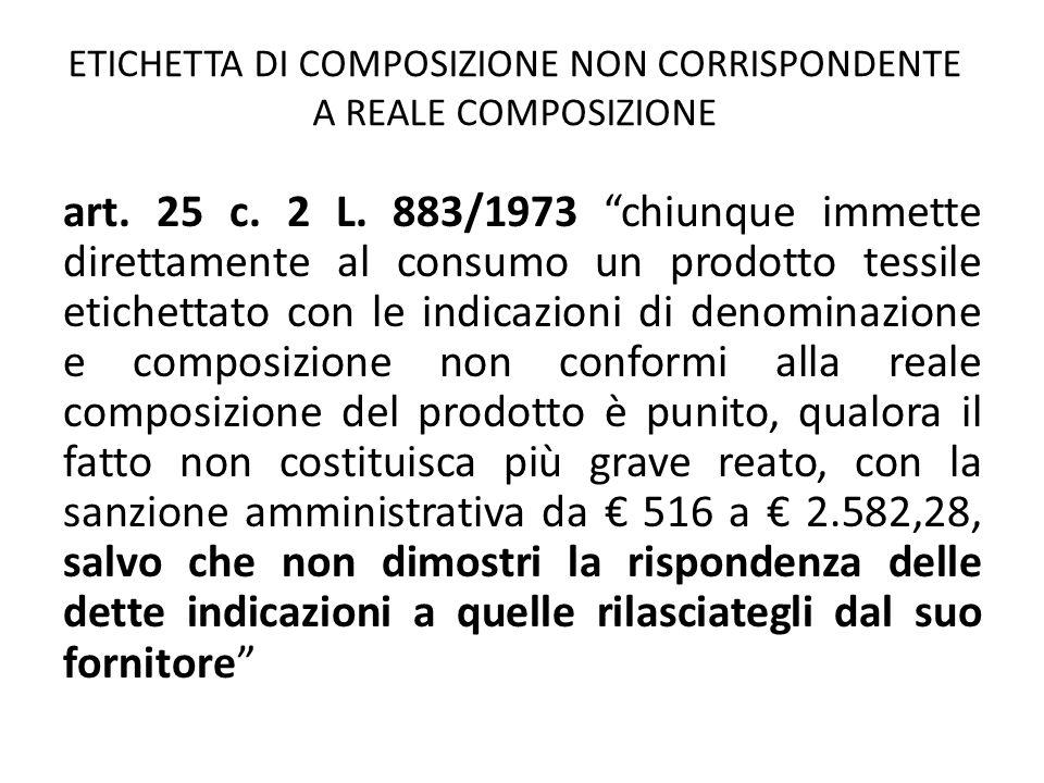 ETICHETTA DI COMPOSIZIONE NON CORRISPONDENTE A REALE COMPOSIZIONE