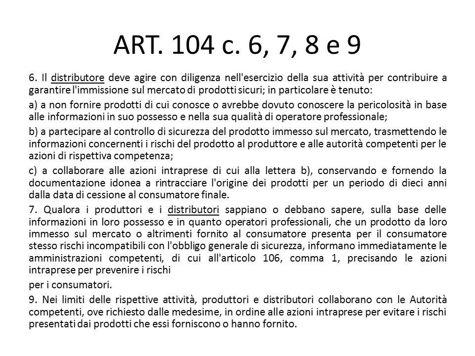 ART. 104 c. 6, 7, 8 e 9