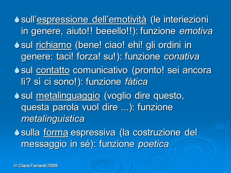 sull'espressione dell'emotività (le interiezioni in genere, aiuto