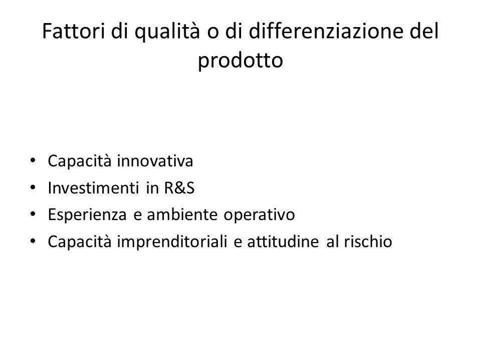Fattori di qualità o di differenziazione del prodotto