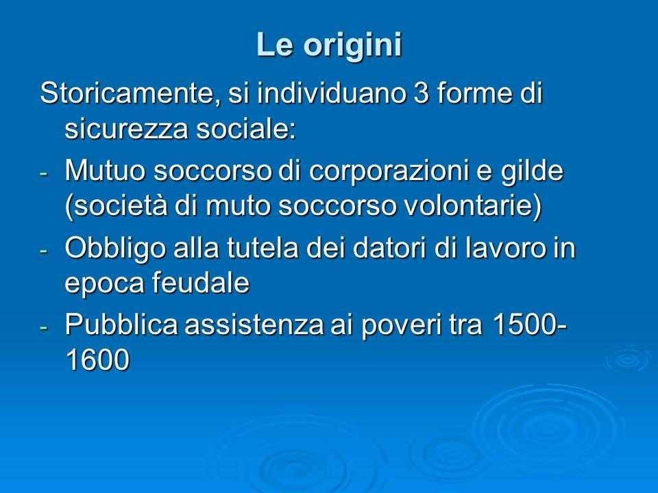 Le origini Storicamente, si individuano 3 forme di sicurezza sociale:
