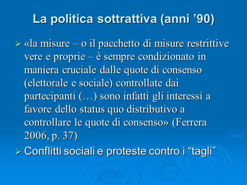 La politica sottrattiva (anni '90)
