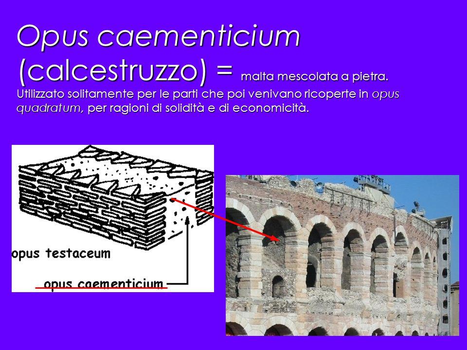 Opus caementicium (calcestruzzo) = malta mescolata a pietra