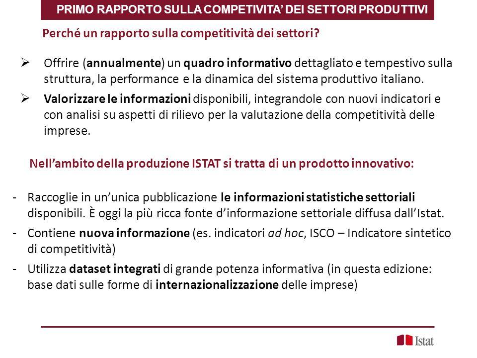 PRIMO RAPPORTO SULLA COMPETIVITA' DEI SETTORI PRODUTTIVI