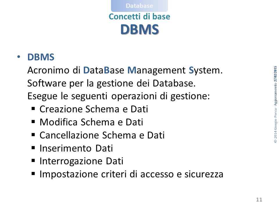 DBMS DBMS Acronimo di DataBase Management System.