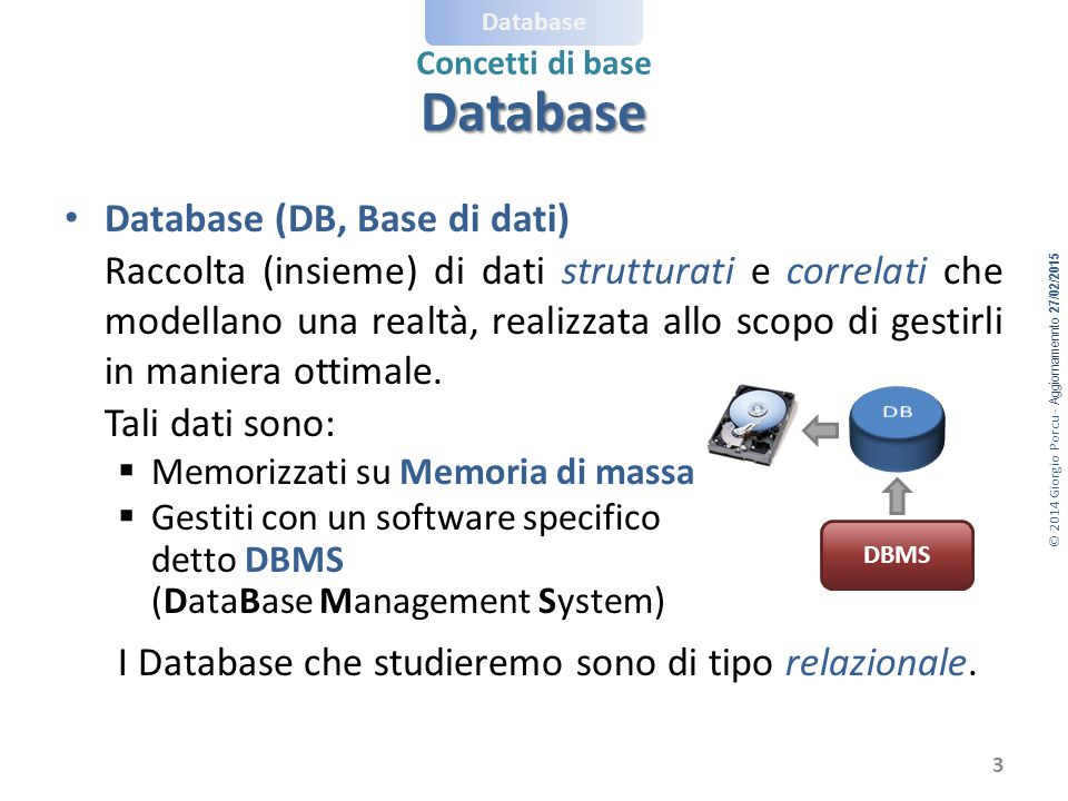 Database Database (DB, Base di dati)