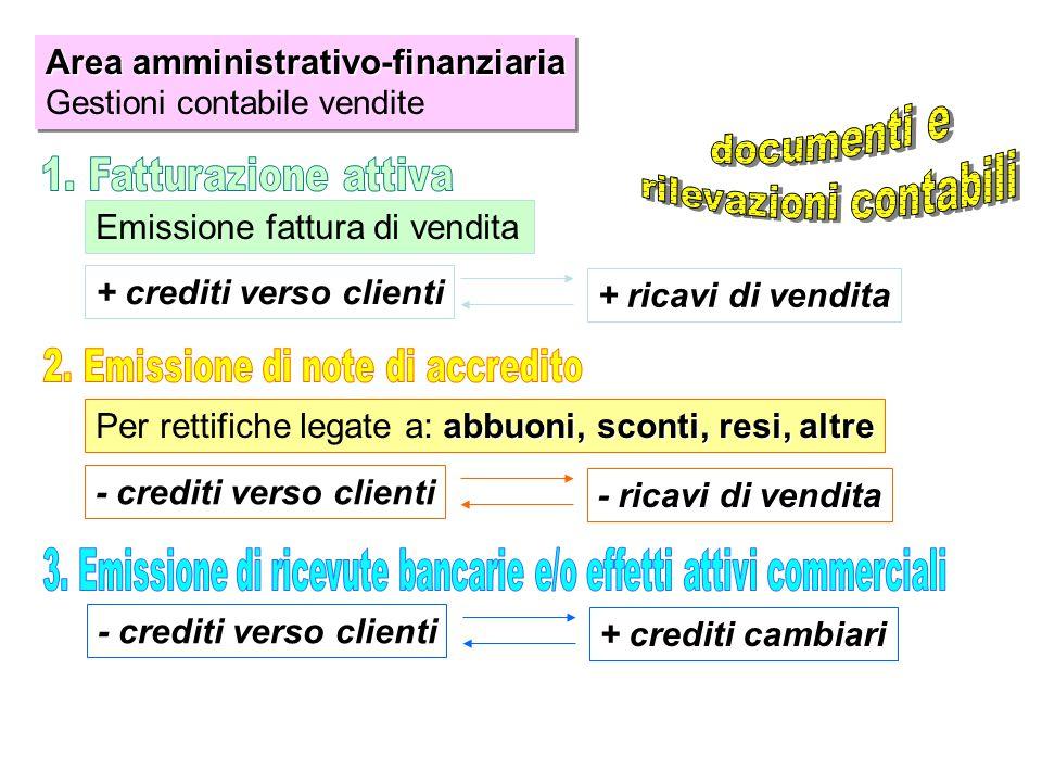 Area amministrativo-finanziaria documenti e rilevazioni contabili