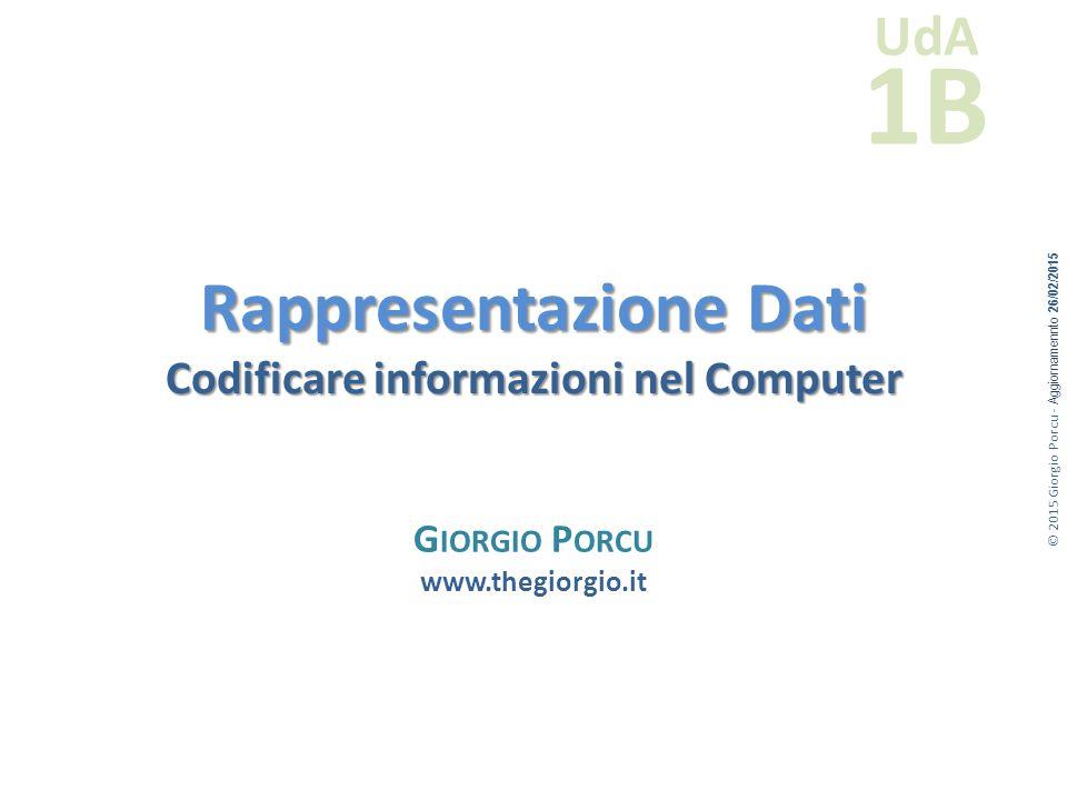 Rappresentazione Dati Codificare informazioni nel Computer