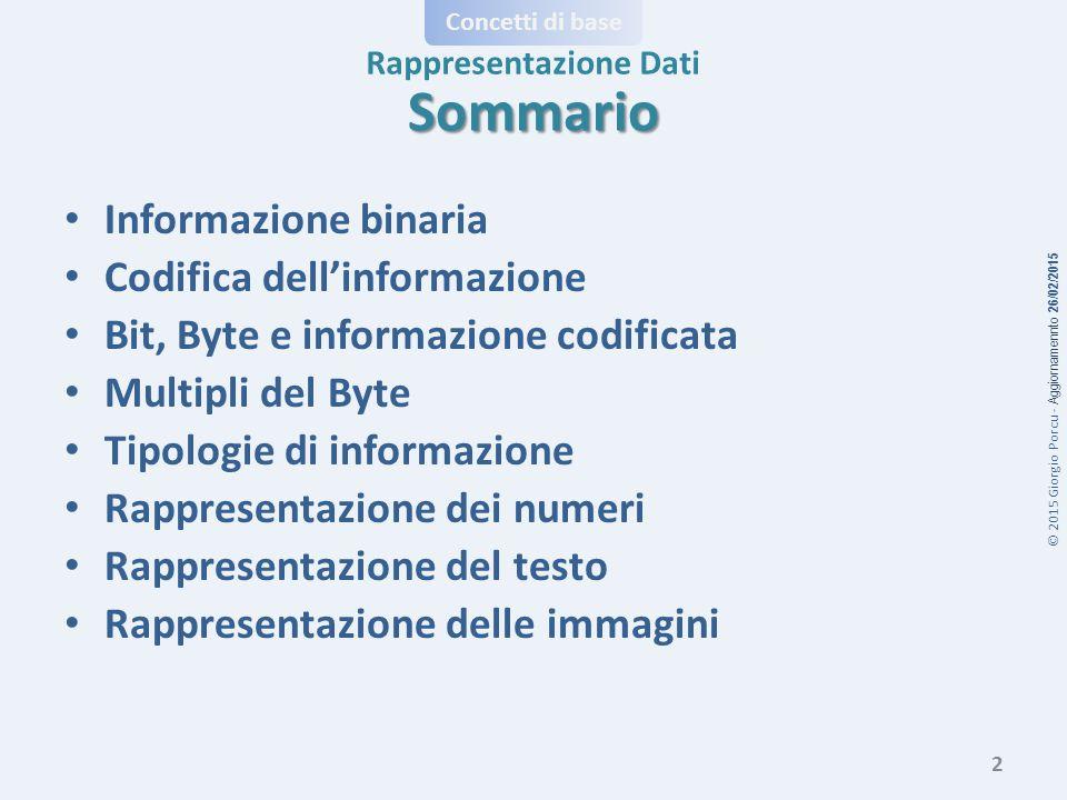 Sommario Informazione binaria Codifica dell'informazione