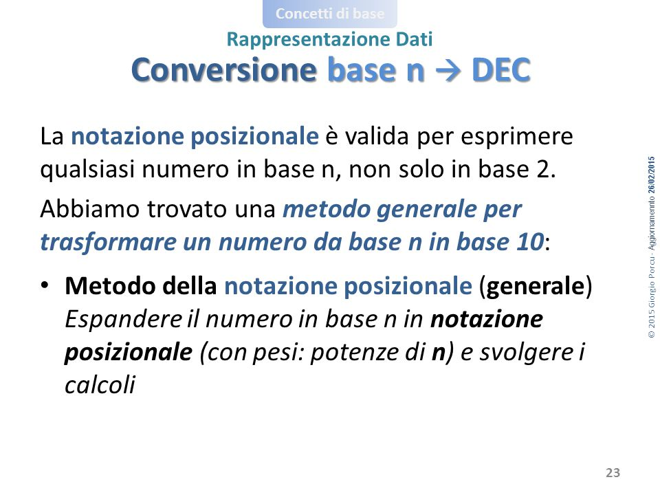 Conversione base n  DEC