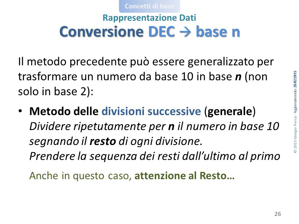 Conversione DEC  base n