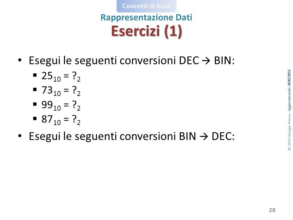 Esercizi (1) Esegui le seguenti conversioni DEC  BIN: