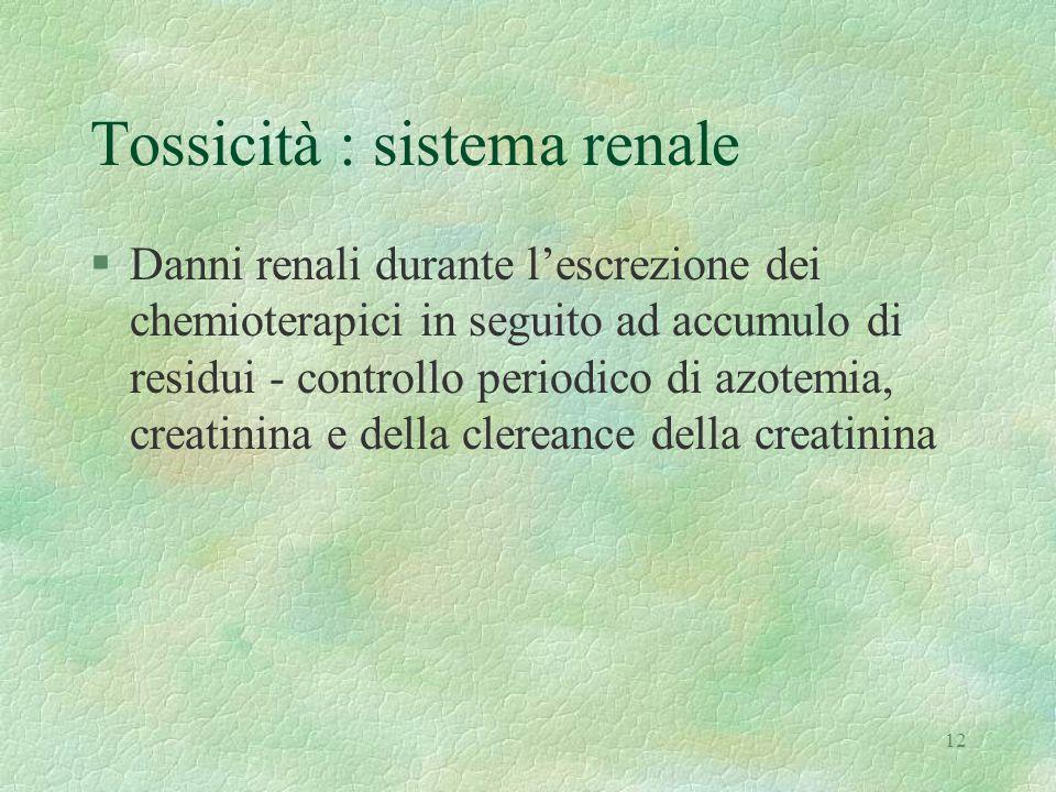 Tossicità : sistema renale