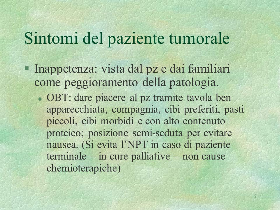 Sintomi del paziente tumorale