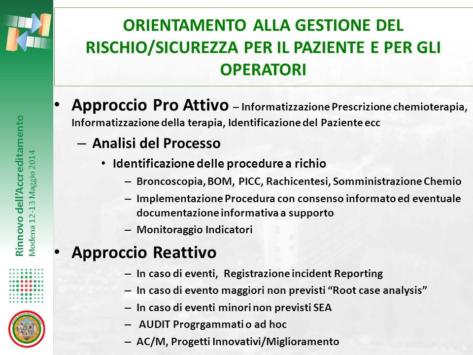 ORIENTAMENTO ALLA GESTIONE DEL RISCHIO/SICUREZZA PER IL PAZIENTE E PER GLI OPERATORI