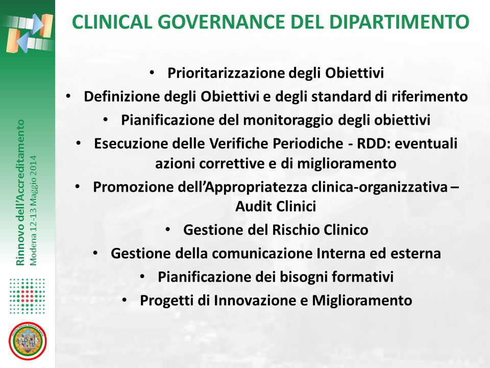 CLINICAL GOVERNANCE DEL DIPARTIMENTO