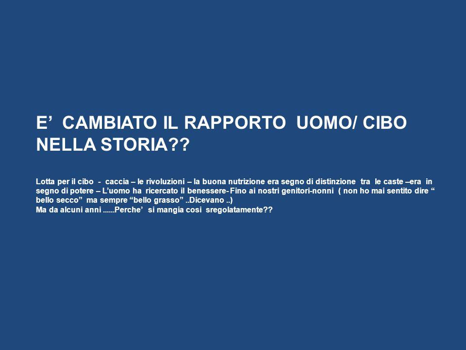 E' CAMBIATO IL RAPPORTO UOMO/ CIBO NELLA STORIA
