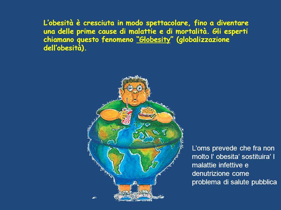 L'obesità è cresciuta in modo spettacolare, fino a diventare una delle prime cause di malattie e di mortalità. Gli esperti chiamano questo fenomeno Globesity (globalizzazione dell'obesità).