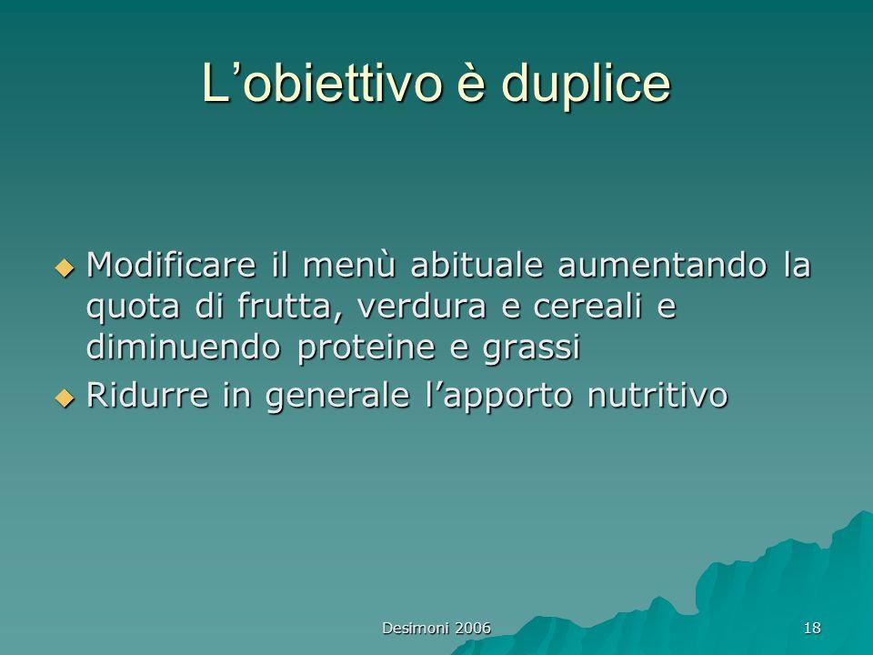 L'obiettivo è duplice Modificare il menù abituale aumentando la quota di frutta, verdura e cereali e diminuendo proteine e grassi.