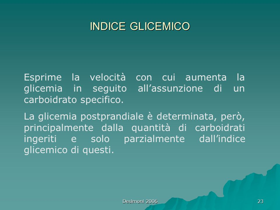 INDICE GLICEMICO Esprime la velocità con cui aumenta la glicemia in seguito all'assunzione di un carboidrato specifico.
