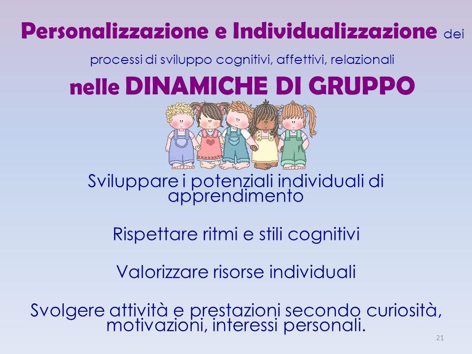 Personalizzazione e Individualizzazione dei processi di sviluppo cognitivi, affettivi, relazionali nelle DINAMICHE DI GRUPPO