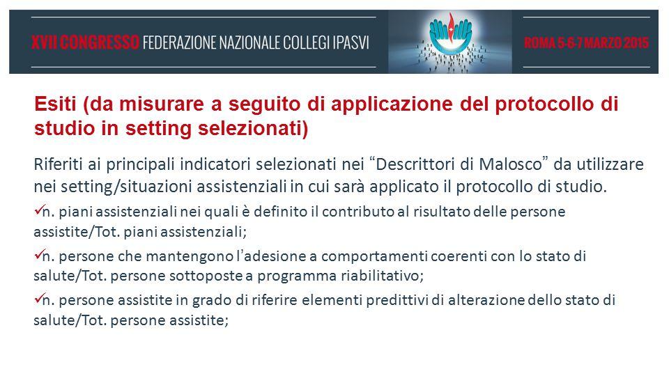 Esiti (da misurare a seguito di applicazione del protocollo di studio in setting selezionati)