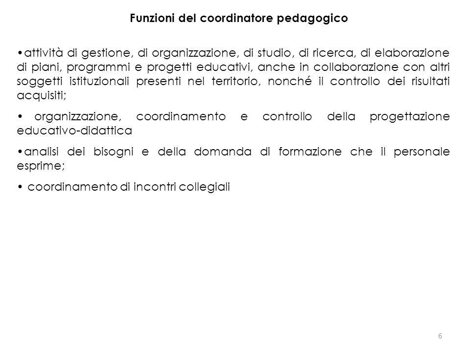 Funzioni del coordinatore pedagogico