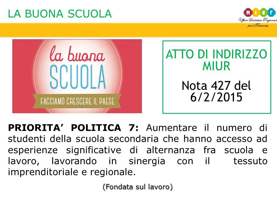 ATTO DI INDIRIZZO MIUR Nota 427 del 6/2/2015 LA BUONA SCUOLA