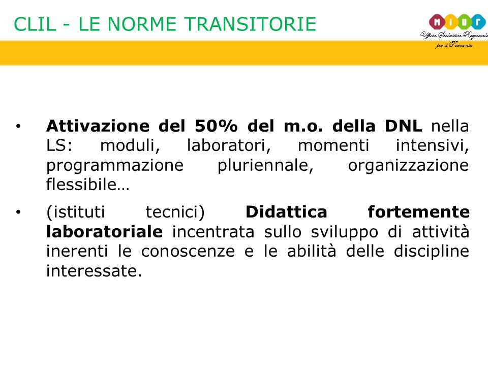 CLIL - LE NORME TRANSITORIE