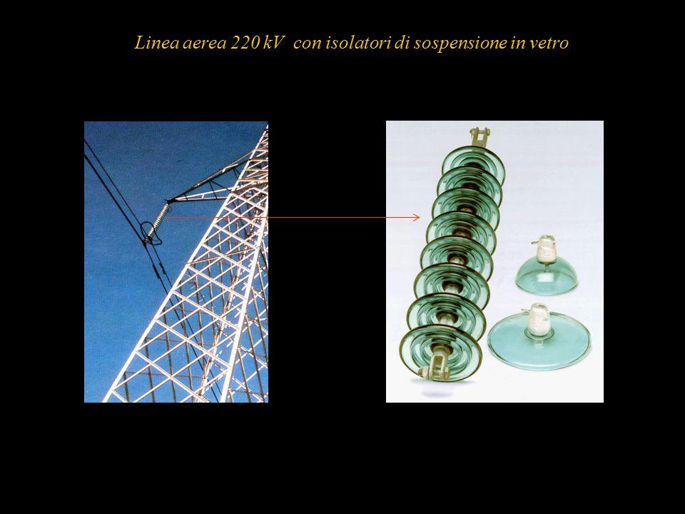 Linea aerea 220 kV con isolatori di sospensione in vetro