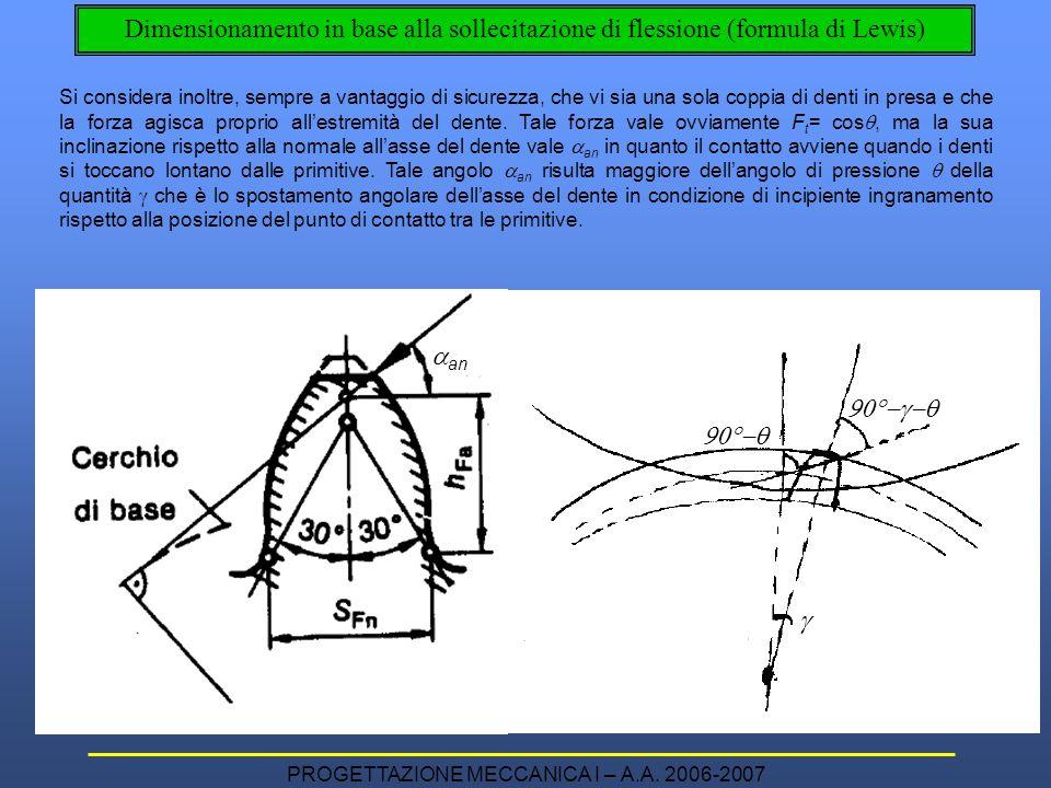 PROGETTAZIONE MECCANICA I – A.A. 2006-2007