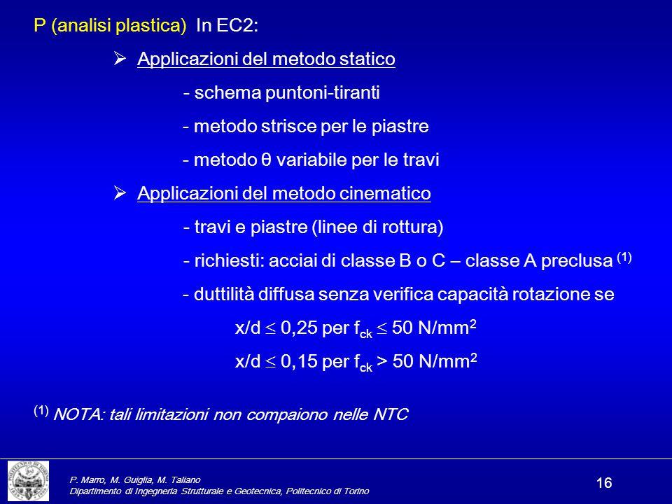 P (analisi plastica) In EC2: Applicazioni del metodo statico