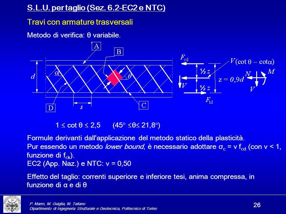 S.L.U. per taglio (Sez. 6.2-EC2 e NTC) Travi con armature trasversali