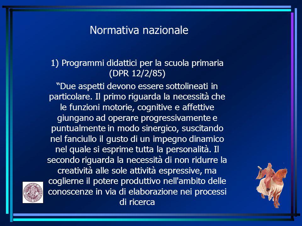 1) Programmi didattici per la scuola primaria (DPR 12/2/85)