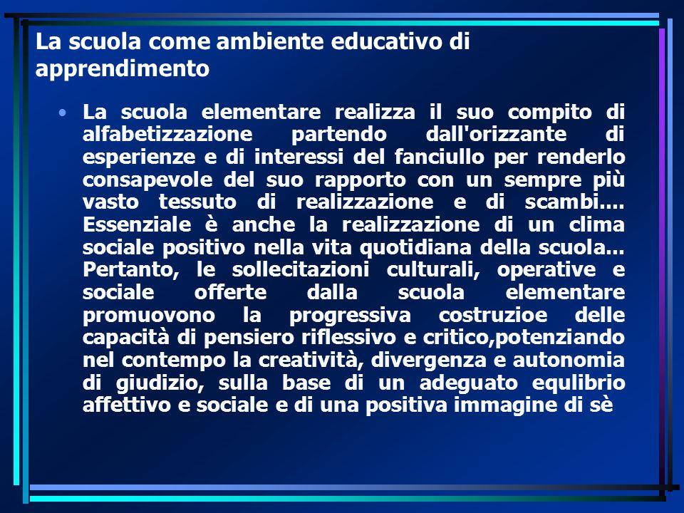 La scuola come ambiente educativo di apprendimento