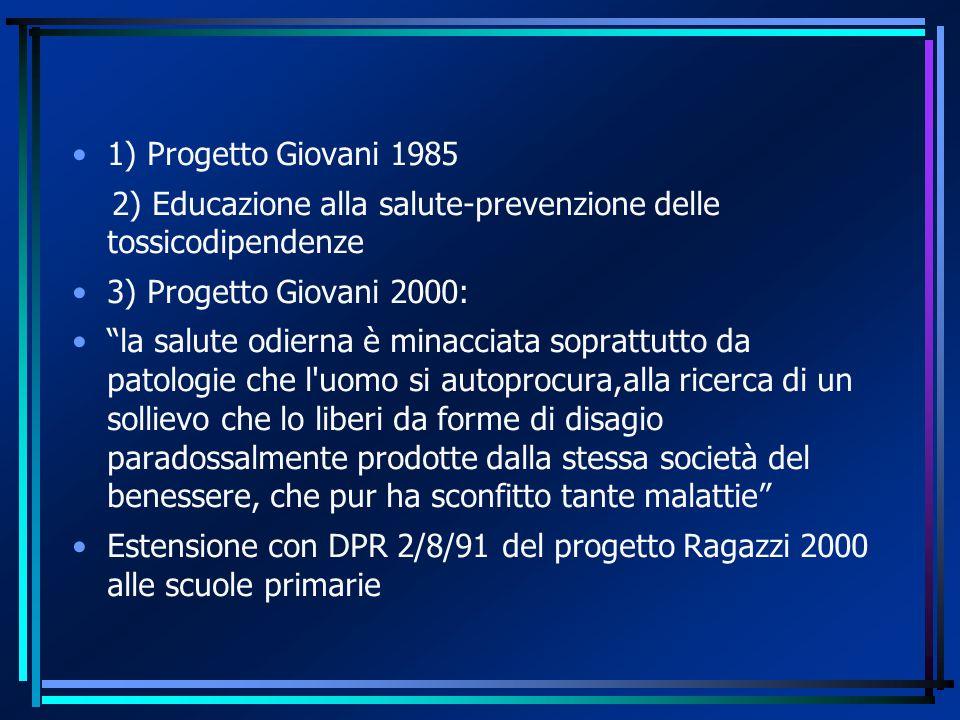 1) Progetto Giovani 1985 2) Educazione alla salute-prevenzione delle tossicodipendenze. 3) Progetto Giovani 2000:
