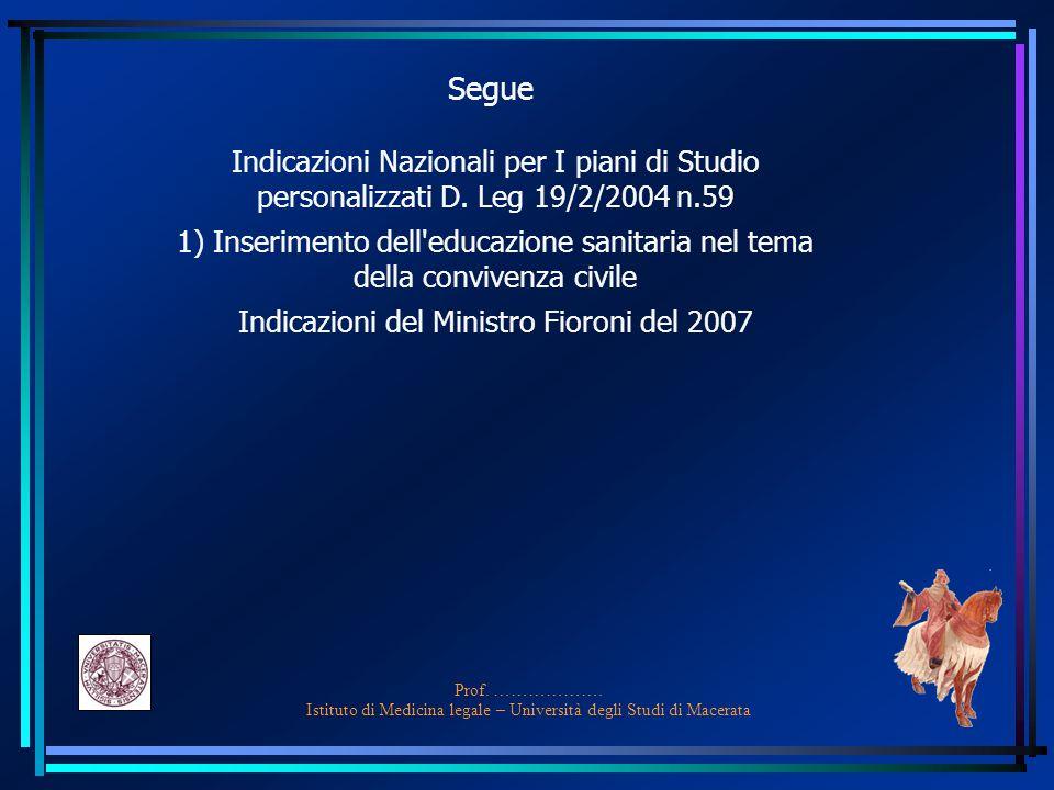 Segue Indicazioni Nazionali per I piani di Studio personalizzati D. Leg 19/2/2004 n.59.