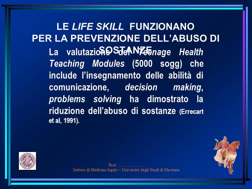 LE LIFE SKILL FUNZIONANO PER LA PREVENZIONE DELL'ABUSO DI SOSTANZE
