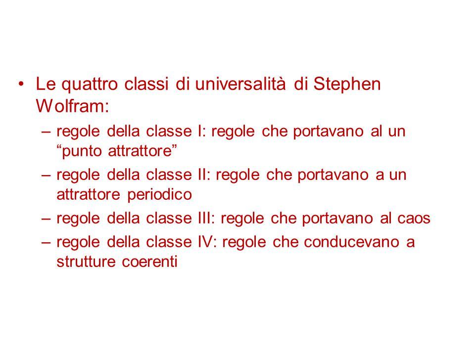 Le quattro classi di universalità di Stephen Wolfram: