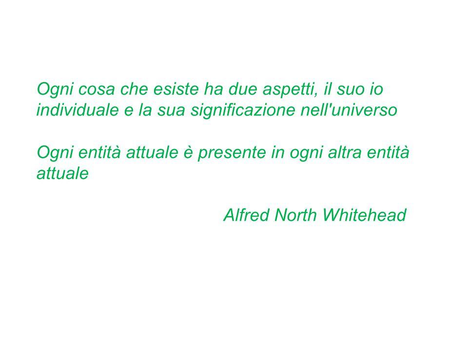 Ogni cosa che esiste ha due aspetti, il suo io individuale e la sua significazione nell universo Ogni entità attuale è presente in ogni altra entità attuale Alfred North Whitehead
