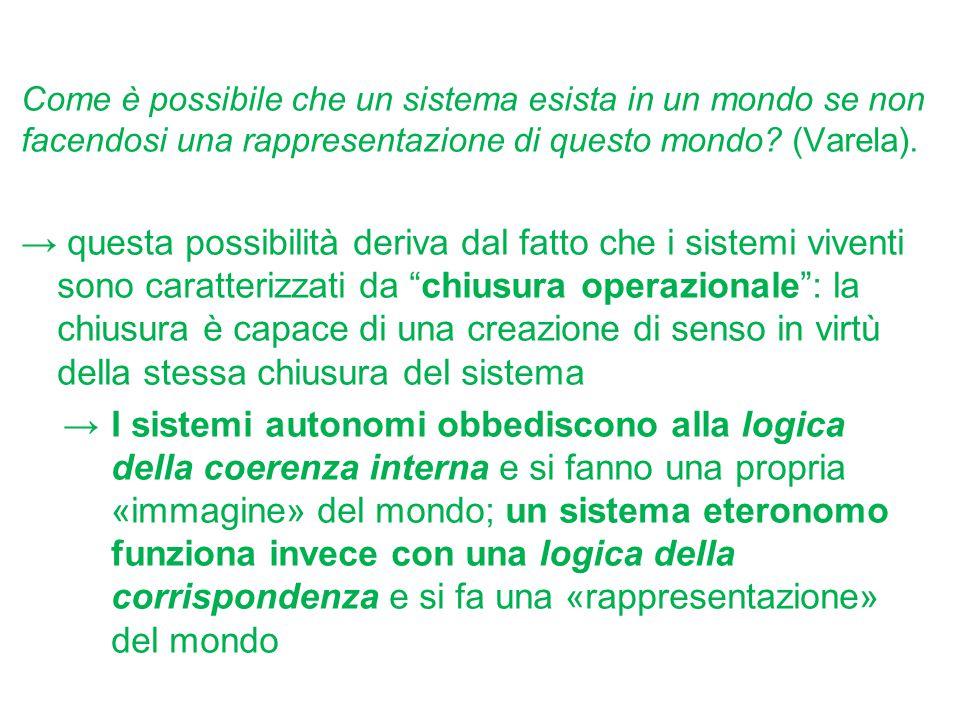 Come è possibile che un sistema esista in un mondo se non facendosi una rappresentazione di questo mondo (Varela).
