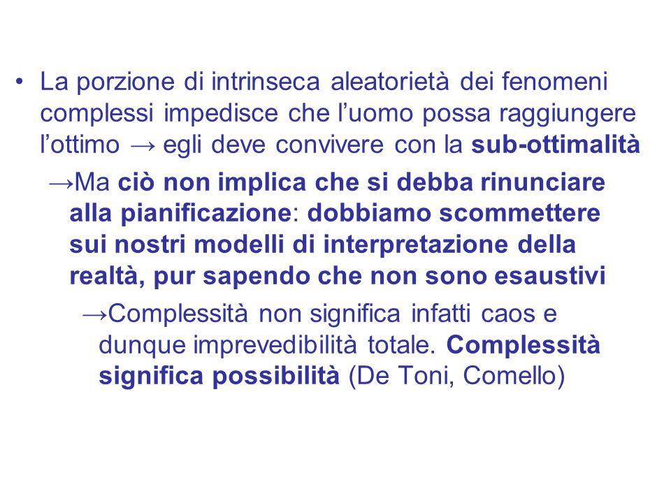 La porzione di intrinseca aleatorietà dei fenomeni complessi impedisce che l'uomo possa raggiungere l'ottimo → egli deve convivere con la sub-ottimalità