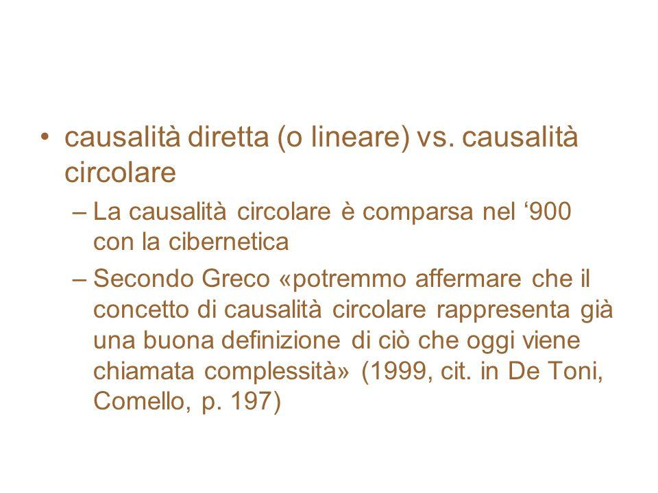 causalità diretta (o lineare) vs. causalità circolare