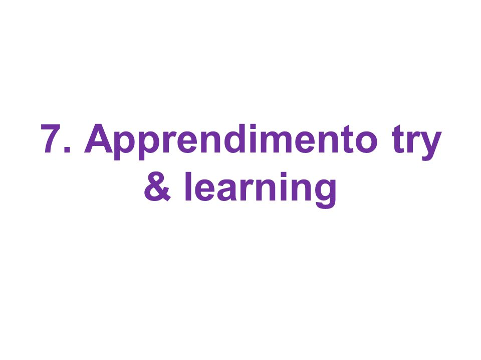 7. Apprendimento try & learning