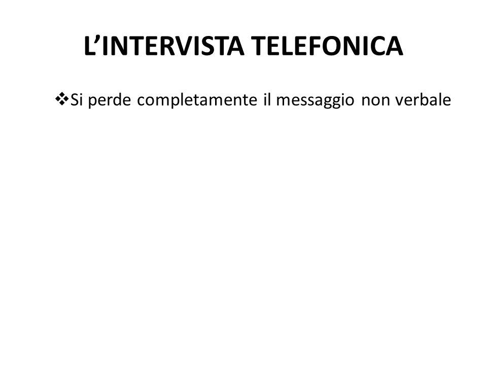 L'INTERVISTA TELEFONICA