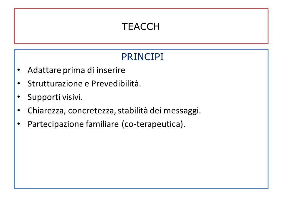 TEACCH PRINCIPI. Adattare prima di inserire. Strutturazione e Prevedibilità. Supporti visivi. Chiarezza, concretezza, stabilità dei messaggi.