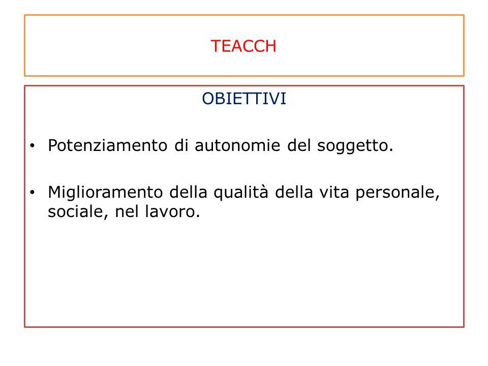 TEACCH OBIETTIVI. Potenziamento di autonomie del soggetto.
